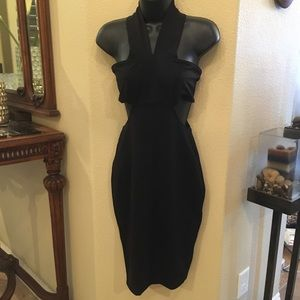 ZARA Black Dress with Open Back and Waist Size XS